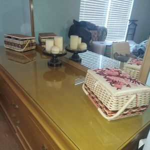 Mid Century Modern Bedroom Set Blond Dresser Chest Of Drawers Bedframe Two Nightstands for Sale in Johnsburg, IL