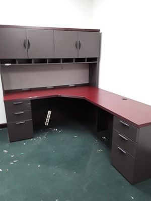 Desk l shaped with hutch 6 drawers 2 for files for Sale in Palos Heights, IL