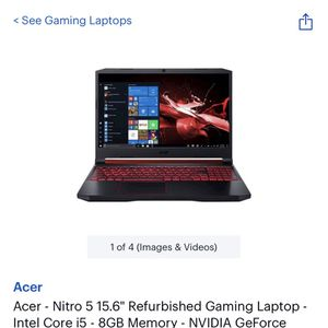 """Acer - Nitro 5 15.6"""" Refurbished Gaming Laptop - Intel Core i5 - 8GB Memory - NVIDIA GeForce GTX 1050 - 256GB Solid State Drive - Obsidian Black for Sale in Frisco, TX"""