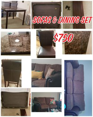 Espresso Sofas & Marble Dining Table w/4 Chairs for Sale in West Melbourne, FL