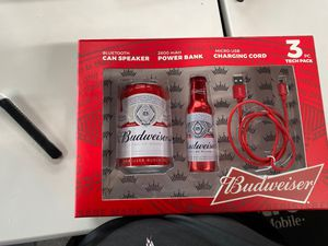 Budweiser Bluetooth speaker, power bank, and charging cord for Sale in Livonia, MI