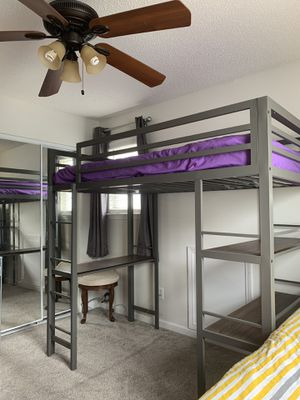 Tall bunk bed with Storage shelves for Sale in Charlotte, NC