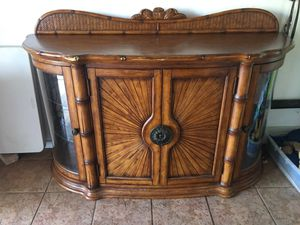 China cabinet, kitchen antique beautiful piece, solid wood with glass side and lights, 2 shelves inside, this is not IKEA, what u see in the front ar for Sale in Miami Beach, FL
