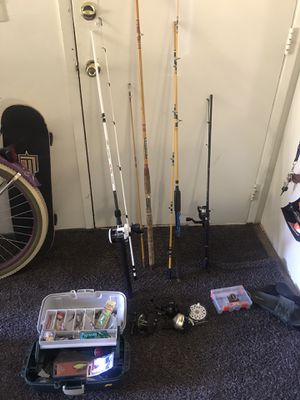 Fishing rods and reels and some gear for Sale in Federal Way, WA