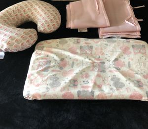 Boppy pillow, changing table cushion and sheet and mesh crib bumper for Sale in Palmdale, CA