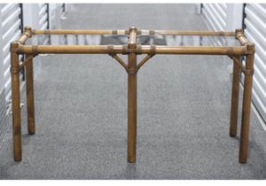 Vintage Console Table / Sofa Table With Glass / Bamboo Table / Boho Style Entryway Table for Sale in Oak Park, IL