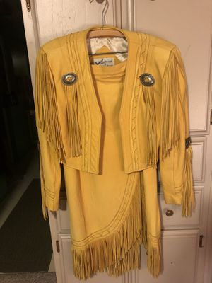 Vintage Continental Leather 2 piece/ Large Leather Fringe Jacket and skirt Midi for Sale in Gig Harbor, WA