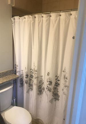 Floral Shower Curtain with Curtain Hooks for Sale in Alexandria, VA