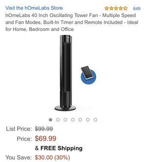 """HomeLabs 40"""" Oscillating Tower Fan for Sale in Delaware, OH"""