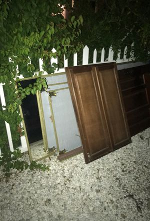 Free. 4 closet doors mirror. One house door for outside. One inside door. One kitchen cabinet. for Sale in Los Angeles, CA