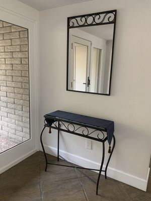 Custom iron mirror with matching glass topped table for Sale in Paradise Valley, AZ