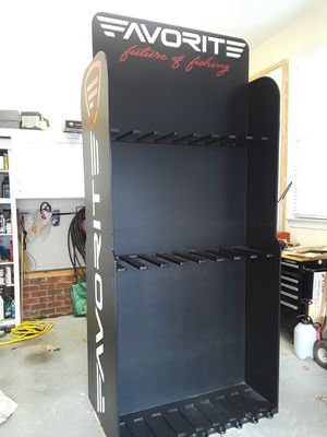 """In-store fishing rod display. Can hold up to 150 rods, 60 combos. Large display, 9 feet tall, 4 feet wide, 32"""" deep, holds rods on both sides. for Sale in Clayton, NC"""