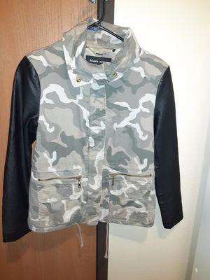 Black Rivet Camo jacket with faux leather sleeves for Sale in Wichita, KS