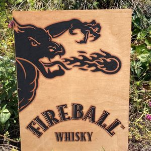 """Fireball Whisky Wall Beer Bar """"New"""" Wood Sign for Sale in Montebello, CA"""