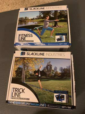 Slackline kit with tree protection workout guide and trick guide. Complete sets for beach, camping, park, outdoor play and fitness -trick and fitness for Sale in Los Angeles, CA