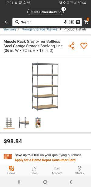 Muscle Rack Gray 5-Tier Boltless Steel Garage Storage Shelving Unit (36 in. W x 72 in. H x 18 in. D) for Sale in Bakersfield, CA