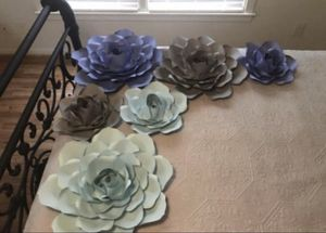 3 large paper roses and 3 medium paper roses.. lime green leaves included for Sale in Raleigh, NC