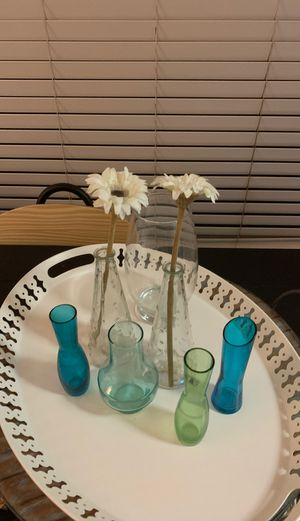 7 flower vases and holders all glass! for Sale in Miami, FL