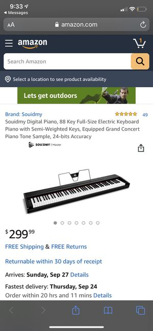 88 Key Full-Size Electric Keyboard Piano with Semi-Weighted Keys for Sale in Lemont, IL