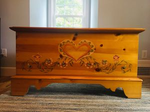 A Lane Cedar Hope Chest in Pine with Heart Design on the front for Sale in Warwick, RI