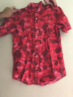 Bape red camo button up shirt size large supreme for Sale in Orlando, FL