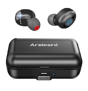 True Wireless Earbuds, Arsiperd Bluetooth 5.0 Headphones 60H Playtime IPX56 Waterproof Deep Bass Stereo Sound for Sale in Rialto, CA