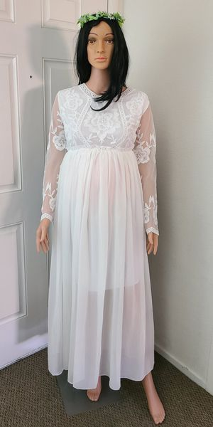 Women's Long Sleeve U Neck White Maternity Gown Photography Dress for Sale in Las Vegas, NV