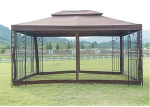 10x10 Gazebos For Backyard Patios Pergolas Metal Outdoor Canopy Kit Screened In Deck Tent Mosquito Netting Clearance for Sale in Henderson, NV