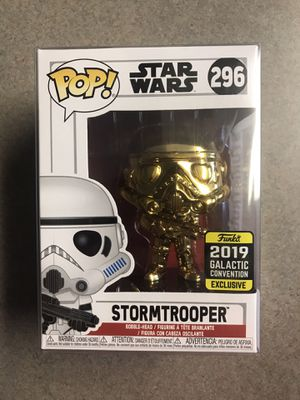 Gold Chrome Stormtrooper Funko Pop 2019 Galactic Convention Exclusive Star Wars 296 with protector for Sale in Carrollton, TX