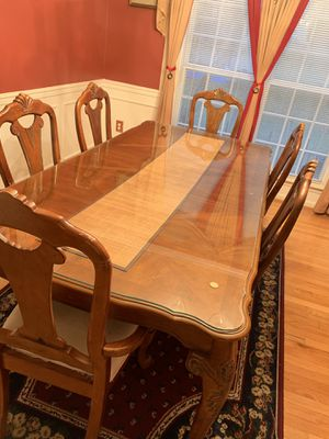 Solid wood table with glass top and six chairs includes chest for Sale in Germantown, MD