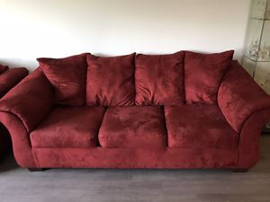 Sofa and Loveseat - Red, microfiber/suede for Sale in Dublin, CA