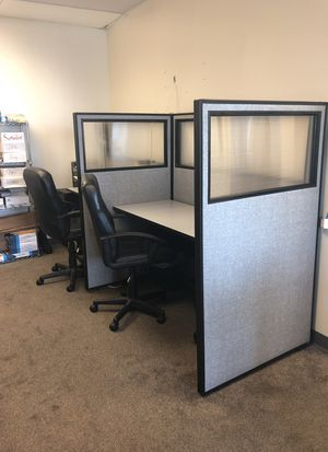 Two Office desk partitions with desk with filing cabinets for Sale in Miami, FL