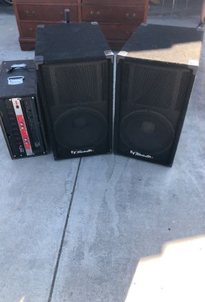 EV pro audio 15inch speakers and QSC amplifier for Sale in Victorville, CA