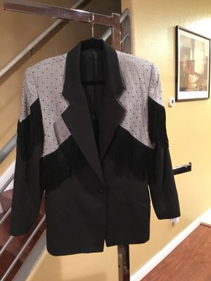 Designer-Black & white skirt suit with fringes/ size 12 - good condition for Sale in Richmond, CA