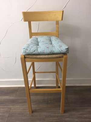 wooden barstool with woven seat and removable cushion for Sale in Dallas, TX