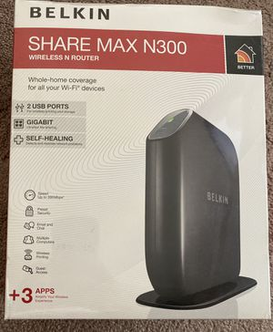 Belkin Share Max N300 Wireless Router with USB (DD-WRT compatible) for Sale in Littleton, CO