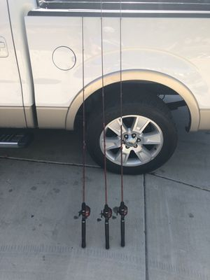 Three kid fishing poles. Zebco slingshot combo closed reel for Sale in Phoenix, AZ