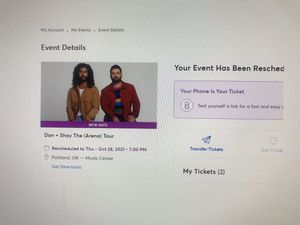 TWO Dan & Shay Concert Tickets (Oct 28th) for Sale in Portland, OR