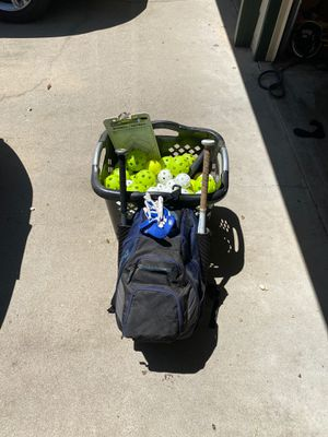 Softball backpack. 2 bats. Helmet. Bases. Clipboard. Tee. Batting gloves. Softballs and wiffle balls. for Sale in Fresno, CA