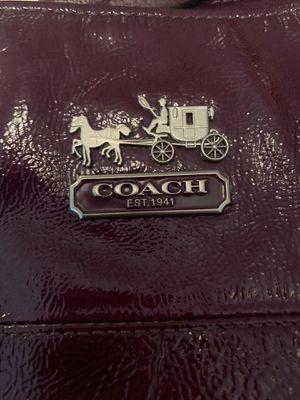 Authentic Rare Deep Plum Purple Spotless Coach Purse for Sale in Livonia, MI