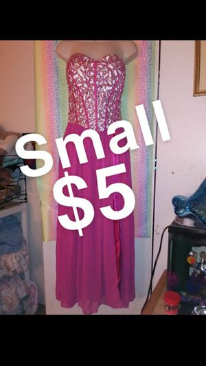 Small Long Teen Women's Hot Pink Rhinestoned Sparkly Glitter Pretty Bright Side Slit Flowy Princess Formal Special Occasion Prom Dance Dress $5 for Sale in Anaheim, CA