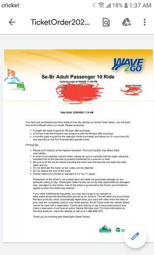 Washington State Ferry muti ride ticket for Sale in Bremerton, WA