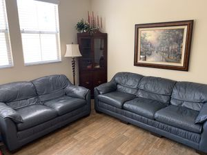 2 blue leather couches for Sale in Los Angeles, CA