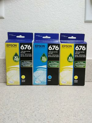 Epson 676 XL Pro Lot Of 3 Ink Cartridges Cyan Yellow for Sale in Redding, CA