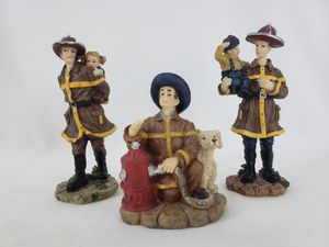 Set of 3 FIREMAN FIREFIGHTER STATUES Porcelain Gift Hero for Sale in Queen Creek, AZ