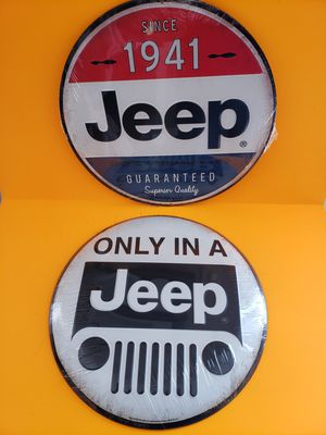 Metal JEEP Man Cave Signs SET OF 2 12x12 for Sale in Stow, OH