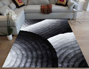 Black off white shag shaggy 5x7 decor rug modern area rug carpet sale for Sale in Los Angeles, CA