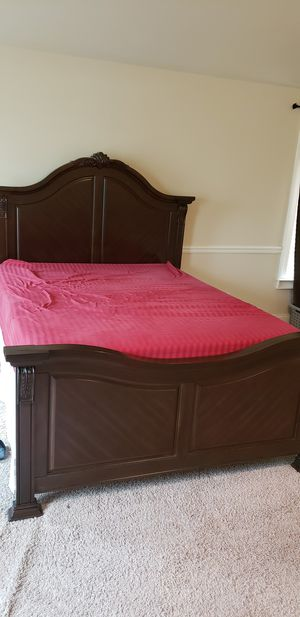 Solid wood bed frame plus queen mattresses for Sale in Augusta, GA