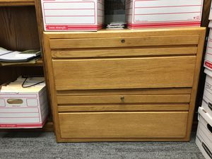 Two drawer, oak lateral file cabinet. for Sale in Seattle, WA