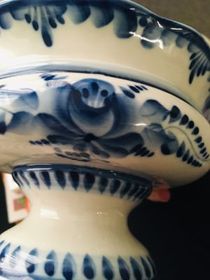Russian Gezhel Porcelain Footed Bowl for Sale in Seattle, WA